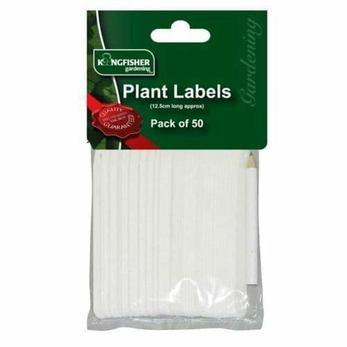 """White Plastic Plant Labels Sticks 5"""" Pack of 50 Seed Tray Markers with Pencil"""